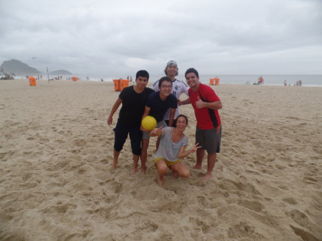 Portuguese students playing beach volley.