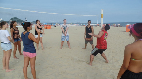 Great mix between Portuguese on the beach, volley and a lot of fun.