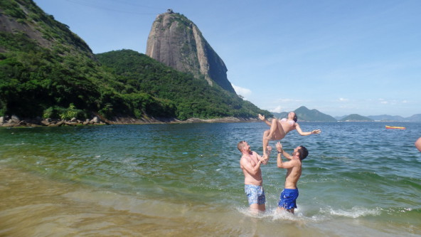 Having fun at Praia Vermelha.