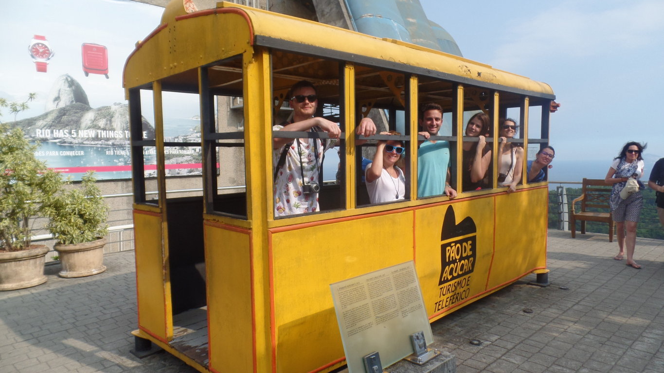Fun afternoon at the Sugar Loaf. Students in the old cable car.