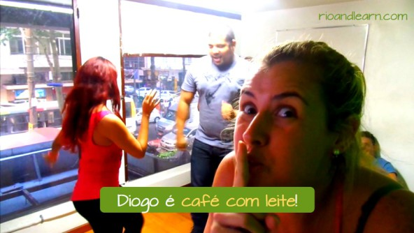The expression Café com Leite in Portuguese. Diogo é café com leite. In Português, besides being a drink, café com leite is used to represente someone that is very bad in something, so bada that his or her friends wouldn't even count him or her in. Diogo is café com leite at dancing samba (and maybe other styles too). It means that he is very bad at it.