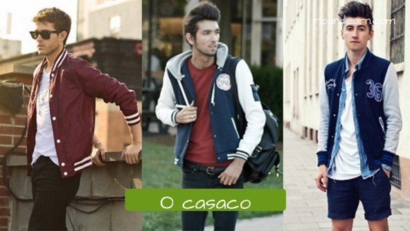 Pieces fo clothes for men. O Casaco: coat. Casaco de estilo americano usado por estudantes universitários.