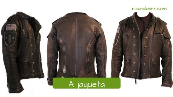 Pieces of clothes for men. A jaqueta: jacket. Jaqueta de couro marrom de botões com bandeira dos estados unidos.