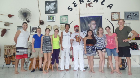 Portuguese language students playing capoeira Rio & Learn.