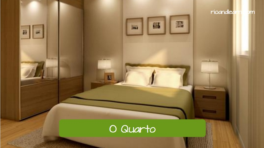 O Quarto. The bedroom in Portuguese. Practice vocabulary of the house and different parts of the house in Portuguese.