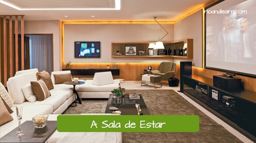 Parts of the House in Portuguese. A Sala de Estar. The Living room. Modern living room with sofa, tv, carpet, coffee table, armchair and pictures.