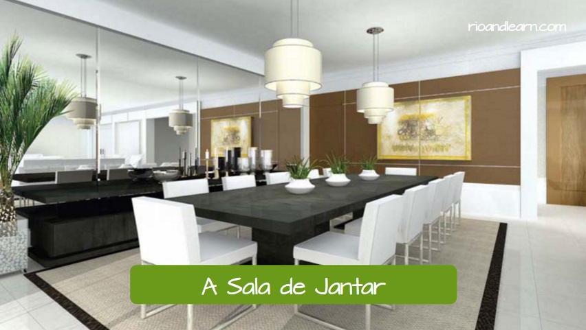 Parts of the House in Portuguese. A Sala de Jantar. The Dinning room with long black table ad white chairs. Learn the house vocabulary in portuguese.