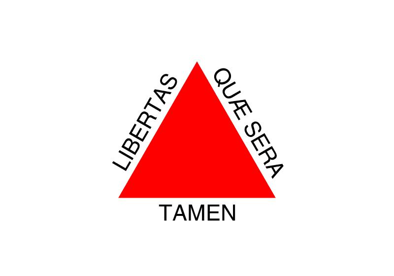 A bandeira do estado de Minas Gerais. Citação do poeta Virgilio: Libertas quae sera tamen. Liberdade ainda que tardia.
