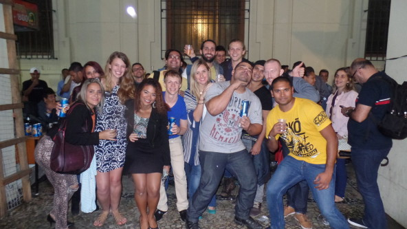 Foreigners enjoying the night downtown in Rio.