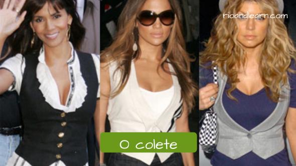 Vocabulário de Roupas Femininas: O colete. Atrizes famosas usando coletes femininos de botão e blusa por baixo em tom e sobretom.
