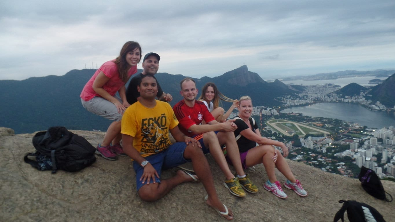 Portuguese language students enjoying the great view at Dois Irmãos and Vidigal.