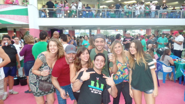 Portuguese language students speaking Portuguese and enjoying samba at Mangueira