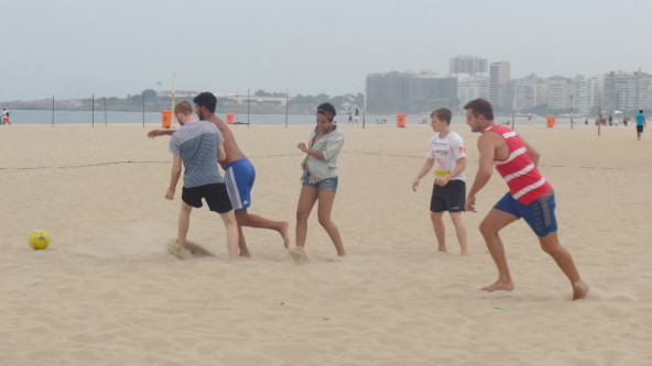 Portuguese students playing football in Rio.