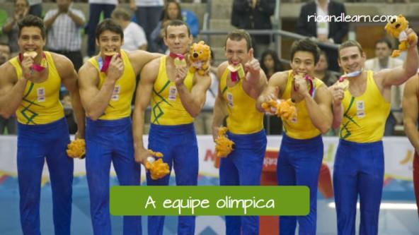 Vocabulario para aprender portugués con las Olimpiadas en Brasil. El equipo olímpico: A equipe olímpica. Equipo brasileño de gimnasia.