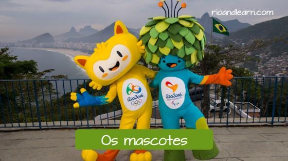 Vocabulario de los Juegos Olímpicos en Portugués. Las mascotas: Os mascotes. Vinicius y Tom, las mascotas de las olimpiadas y Paraolimpiadas, en el Forte de Leme.
