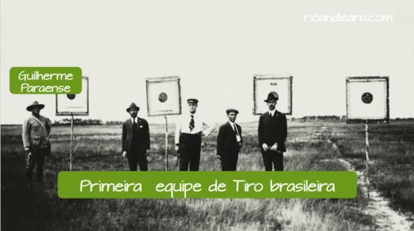 Primera medalla de Oro para Brasil: Primer equipo de tiro olímpico brasileño con el primer medallista de oro brasileño Guilherme Paraense.