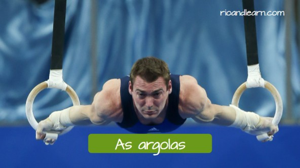 Artistic Gymnastics Equipments in Portuguese. The still rings: As argolas. Arthur Zanettii, world and olympic champion, competing on the rings for the Brazilian gymnastics.