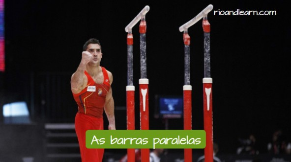 Vocabulary of Artistic Gymnastics in Portuguese. The parallel bars: As barra paralelas. Bars used fot the male competition, with the gymnast next to it celebrating a good performance.
