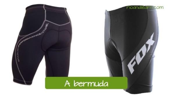 Equipaje de ciclismo en portugués. El pantalón de ciclista: A bermuda. Pantalon corto de ciclista de coloar negro.