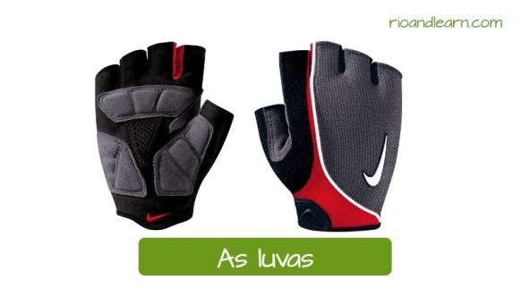 Vocabulario de ciclismo en Portugués. Los guantes: As luvas. Guantes negros y grises con detalles rojos para ciclismo de competición sin dedos.