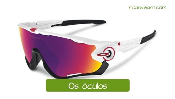 Vocabulario de ciclismo en portugués. Las gafas: Os óculos. Gafas de sol para ciclismo con colores blanco y negro.