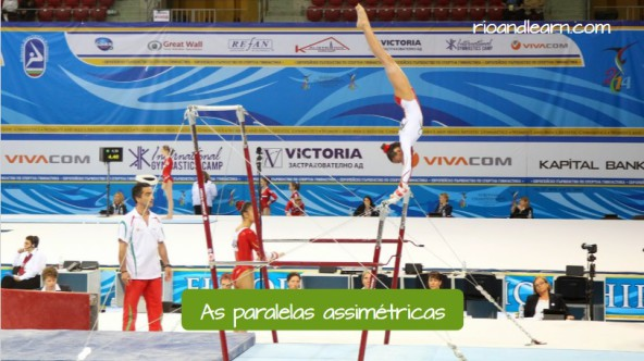Equipments used in the artistic gymnastics in Portuguese for foreigners. The uneven bars: Barras assimétricas, therefore, one is lower than the other, used by gymnasts during competitions.