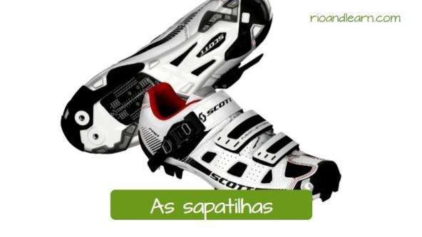Vocabulario de equipo de ciclista en portugués. Las zapatillas de ciclista: As sapatilhas. Zapatillas de ciclismo de colocar blanco con detalles negros en português: Sapatilhas para ciclismo.
