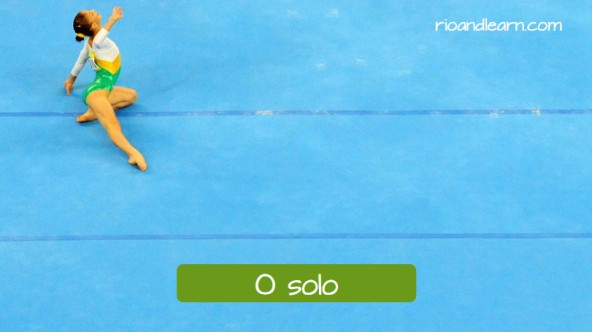 Equipments used in the artistic gymnastics in Portuguese. The floor: O solo. Olympic athlete during a artistic gymnastics presentation on the floor.