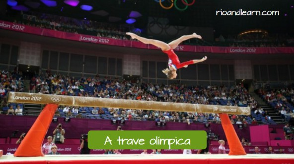 Equipments used for the artistic gymnastics in Portuguese. The balance beam: A trave olímpica.
