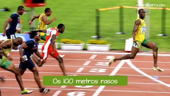 Athletics in Portuguese. Os 100 metros rasos: The 100-meter dash.