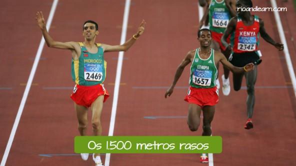 Pruebas de Atletismo de Medio fondo en portugués. Los 1500 metros lisos: Os 1500 metros rasos.