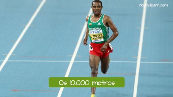 Pruebas de atletismo de fondo en portugués. Los 10.000 metros lisos: Os 10000 metros.