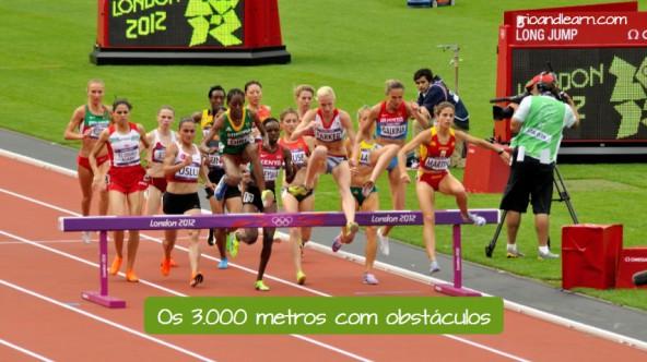 Pruebas de Atletismo en portugués. Los 3.000 metros obstáculos: Os 3000 metros com obstáculos.