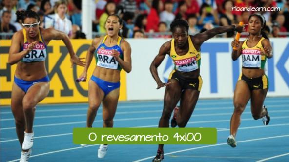 Pruebas de atletismo por relevos en portugués. El relevo 4x100: O revesamento 4x100.