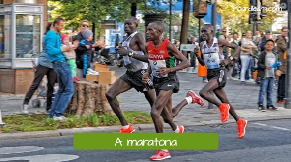 Olympic street event. A maratona: The marathon.