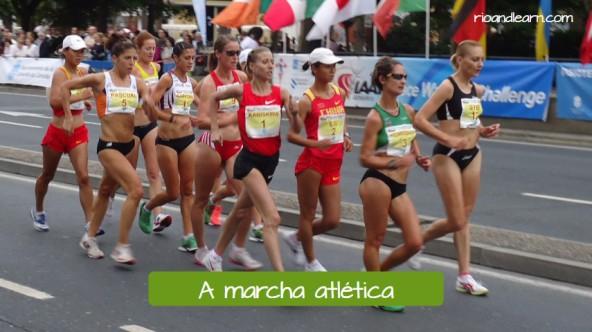 Modalidades de atletismo en portugués. La marcha atlética: A marcha atlética.
