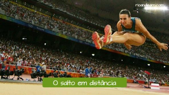 Pruebas de atletismo de salto en portugués. El salto de longitud: O salto em distância.