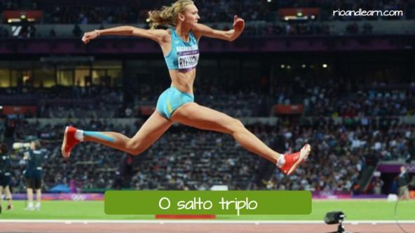 Pruebas de atletismo de salto en portugués. El triple salto: O salto triplo.