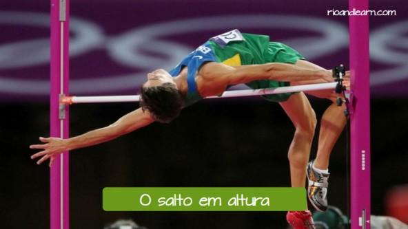 Pruebas de atletismo de salto en portugués. El salto de altura: O salto em altura.