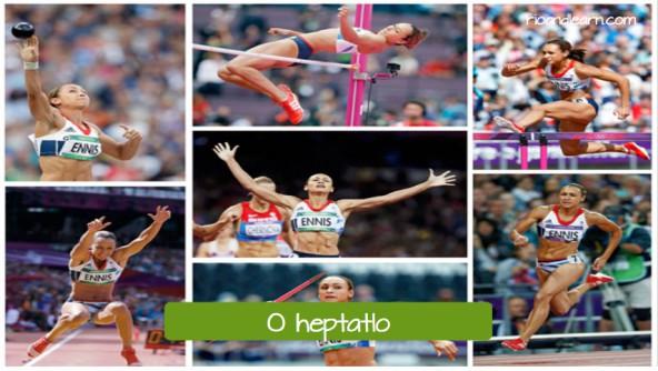 Pruebas femeninas de atletismo en portugués. El heptatlón: O heptatlo.