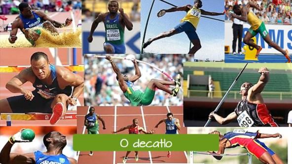 Pruebas masculinas de atletismo en portugués. El decatlón: O decatlo.