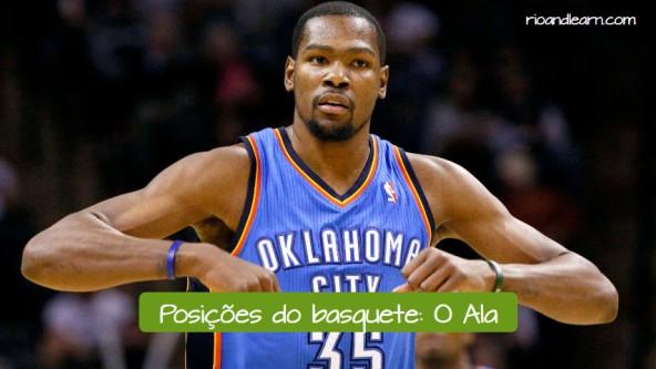 Posiciones de baloncesto en portugués. El alero: o ala.