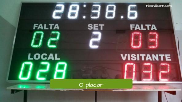 Vocabulario de baloncesto en portugués. El marcador: O placar
