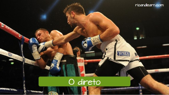 Boxing moves in Portuguese. O direto: The right cross.