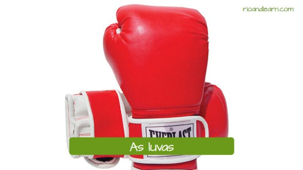 Boxing equipments in Portuguese. As luvas: the boxing gloves.