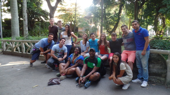 Students relaxing at Parque do Catete