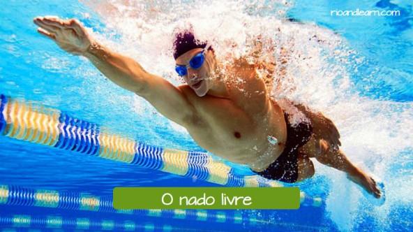 Estilos da natación en portugués. Estilo libre: O nado livre.