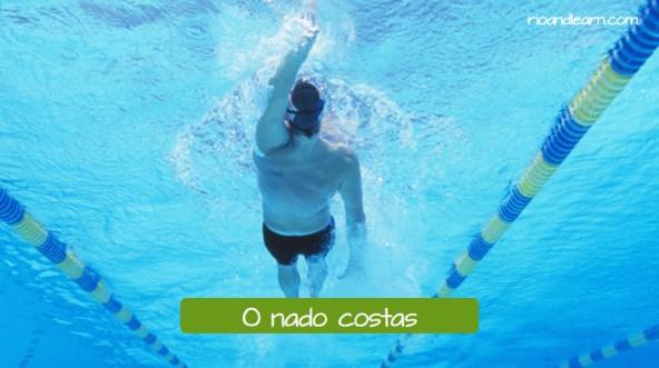 Estilos da natación en portugués. Estilo espalda: O nado costas.
