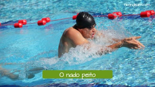Estilos de natación en portugués. Estilo braza: O nado peito.