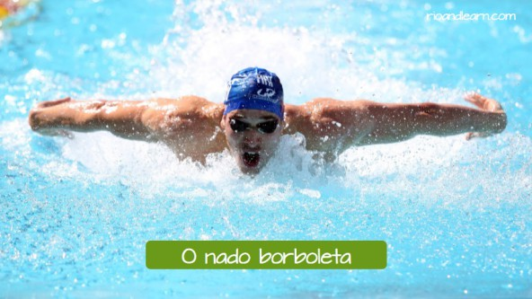 Estilos de natación en portugués para extranjeros. Estilo mariposa: O nado borboleta.